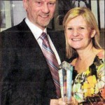 Jonathan Turner is congratulated by his wife Pamela on winning the Veterans Prize at the 2009 Larne Borough Sports Awards held in the McNeill Theatre on Thursday 25th February 2010