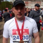 Ross McCowan in celebratory mood after his successful marathon debut in London