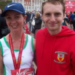 Claire Oliphant & Russell Hughes celebrate after their endeavours at the Virgin London Marathon