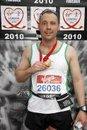 Ian McKeown at the finish of the Virgin London Marathon