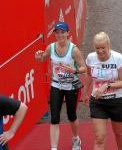 Claire Oliphant at the finish of the Virgin London Marathon