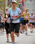 Roberta Henry at the finish of the Virgin London Marathon
