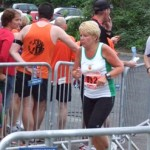 Deddie Hill turns the last corner at Lisburn Half Marathon