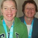 Helen and Irene in joyous mood after their exertions at the Dublin Marathon