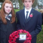Junior Captains Hannah Welshman and Stewart Gault laid the club's wreath at the Royal British Legion's Remembrance Service at the War Memorial Park in Ballyclare on Sunday 14th November 2010