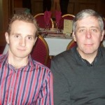 Men's Captain Russell Hughes and Richard Mason at the Christmas Night out in Carrickfergus