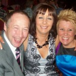 In celebratory mood at the Clarion Hotel are Jim Hodgens, Elaine McKee and Debbie Smith