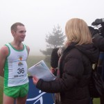 A few seconds after crossing the finishing line in the Antrim IAAF International XC Race, Russell Hughes is interviewed by the BBC NI Sports team.