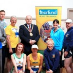 CAH Belfast Marathon Tear Fund relay teams pictured with Lord Mayor Pat Convery