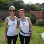 Adrienne and Glynis doing a memorial run for Greg in Little Paxton