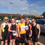 Louise, Lucy, Farrah, Christine and Lisa at Ballymoney Triathalon