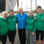 Paula McMaster, Grace Startin, Dame Mary Peters, Kim Gleave and Carol Annesley at the Titanic Runher 10K