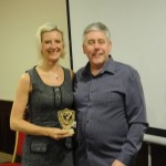 Ricky Mason presenting Louise Smart with Club Person of the Year 2014