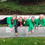 Cathy, Christine, Louise, Eileen and Marion pointing out Mary Peter's name at the Munich Olympic Stadium