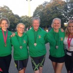 Cathy Hopkins, Marion Morrow, Eileen Stewart, Louise Smart and Christine Neeson at the Munich Marathon and Half Marathon Oct 2014