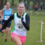 Natasha Henderson sprinting to the finish at Lurgan x-c