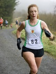 Christine Murray in the home straight of the NI Running 5ml Trail Race