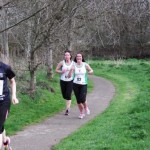 Lindsay Kennedy completing her first five mile race with Lisa Montgomery at Ballymena Belles.