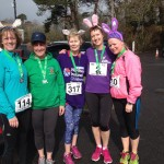 Marian Hayes, Katherine McAllister, Fran Wright, Carol Annesley and Paula McMaster at the 5K Easter Bunny Hop