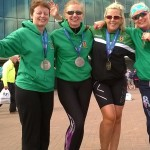 Irene Downey, Christine Murray, Christine Neeson & Paula McMaster after the Asics Greater Manchester Marathon