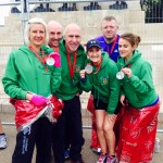 Louise Smart, Glenn Smart, Chris Barrett, Martina Toal and husband and Julie Young after the London Marathon